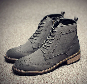 Stylish Men's Handmade Gray Suede Brogue Lace Up Boots, Men Suede Gray Casual Boots - theleathersouq
