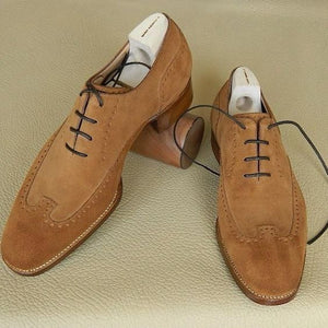 Stylish Men's Handmade Camel Color Suede Rounded Tow Brogue Dress Shoes - theleathersouq