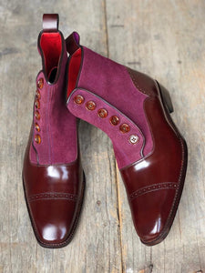 Stylish Men's Handmade Maroon & Purple Leather & Suede Boots, Men Casual Ankle High Boots - theleathersouq