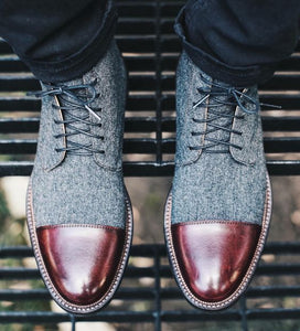 Stylish Men's Handmade Burgundy & Gray Ankle High Leather & Tweed Lace Up Boots - theleathersouq
