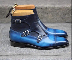 Stylish Men's Handmade Triple Monk Strap Ankle High Two Tone Blue Leather Boots - theleathersouq
