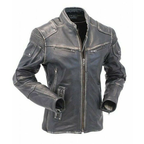 New Men's Cafe Racer Biker Jacket, Vintage Motorcycle Distressed Biker Leather Jacket - theleathersouq