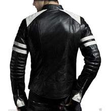 Load image into Gallery viewer, Men Black & White Biker Jacket, Men's Leather Biker Jacket - theleathersouq