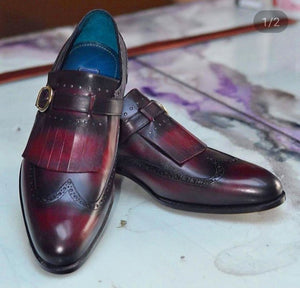Stylish Men's Handmade Burnished Burgundy Wing Tip Monk Strap & Fringed Dress Shoes - theleathersouq