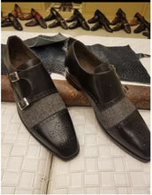 Load image into Gallery viewer, Stylish Handmade Men's Black & Gray Double Monk Strap Tweed & Leather Brogue Shoes - theleathersouq