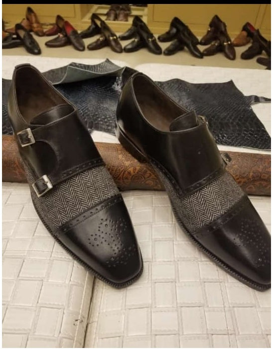 Stylish Handmade Men's Black & Gray Double Monk Strap Tweed & Leather Brogue Shoes - theleathersouq