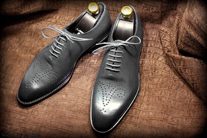 Stylish Men's Handmade Gray Color Brogue Derby Dress Shoes - theleathersouq
