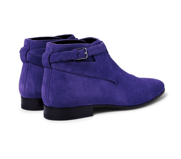 Stylish Men's Handmade Blue Color Suede Jodhpur Ankle High Buckle Dress Boots - theleathersouq