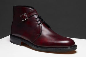 Stylish Men's Handmade Burgundy Leather Lace Up & Buckle Half Ankle Chukka Casual Boots - theleathersouq