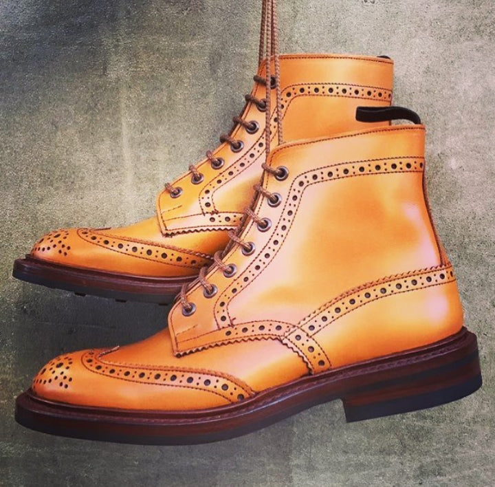 Stylish Men's Handmade Tan Leather Wing Tip Brogue Casual Dress Boots - theleathersouq