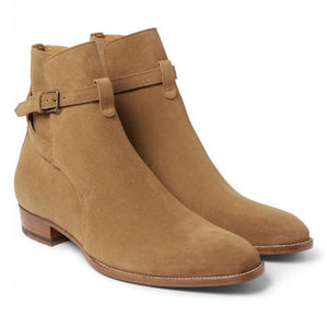 Stylish Men's Handmade Beige Suede Jodhpur Loop Buckle Fashion Casual Boots - theleathersouq