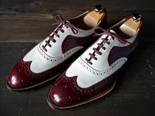 Load image into Gallery viewer, Stylish Men's Handmade Burgundy & White Leather Wing Tip Brogue Lace Up Shoes - theleathersouq