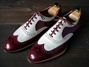 Stylish Men's Handmade Burgundy & White Leather Wing Tip Brogue Lace Up Shoes - theleathersouq