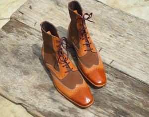 Stylish Handmade Men's Tan & Brown Wing Tip Leather & Suede Lace Up Casual Boots - theleathersouq