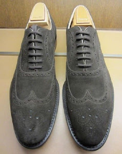 Elegantly Designed Men's Handmade Gray Suede Lace Up Shoes, Men Dress Formal Wing Tip Brogue Shoes - theleathersouq