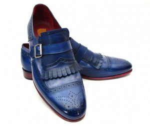 Men's Handmade Blue Single Monk Strap Leather Fringed Shoes, Men Dress Shoes - theleathersouq