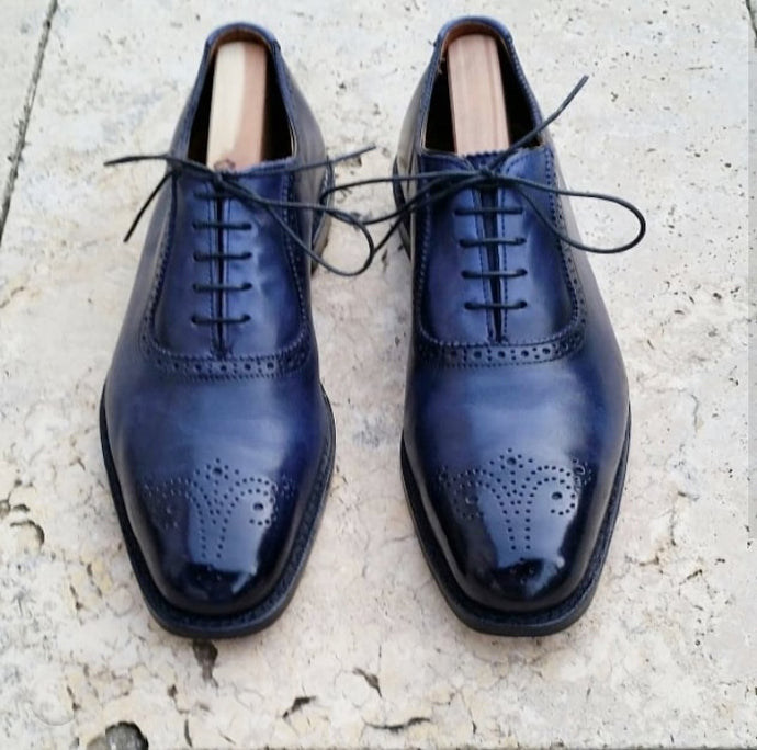 Elegant Handmade Men's Brogue Shoes, Men's Navy Blue Leather Lace Up Dress Shoes - theleathersouq