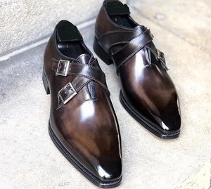 Stylish Men's Handmade Dark Brown Double Monk Leather Shoes, Men Dress Buckle Shoes - theleathersouq
