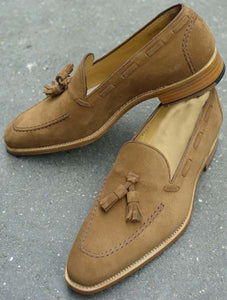 Stylish Men's Handmade Camel Color Suede Tassel Loafers, Men's Suede Tussle Shoes - theleathersouq
