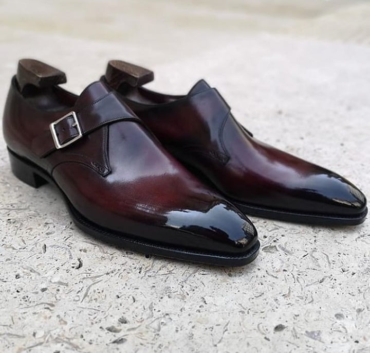 New Men's Handmade Burgundy Monk Leather Burnished Toe Shoes, Men Dress Buckle Shoes - theleathersouq
