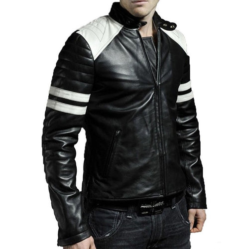 Men Black & White Biker Jacket, Men's Leather Biker Jacket - theleathersouq