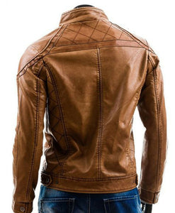 Stylish Handmade Men Brown Leather Fashionable Biker Jacket,New Motorbike Jacket - theleathersouq