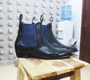 Stylish Men Leather Ankle High Chelsea Boots, New Handmade Black Brogue Boots - theleathersouq