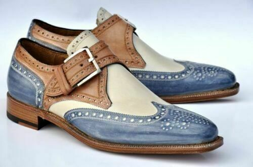 Elegant Design Handmade Men's Multi Color leather Monk Brogue Dress shoes - theleathersouq