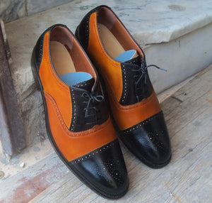 Stylish Handmade Men's Tan & Black Leather Cap Toe Brogue Lace Up Dress Shoes - theleathersouq