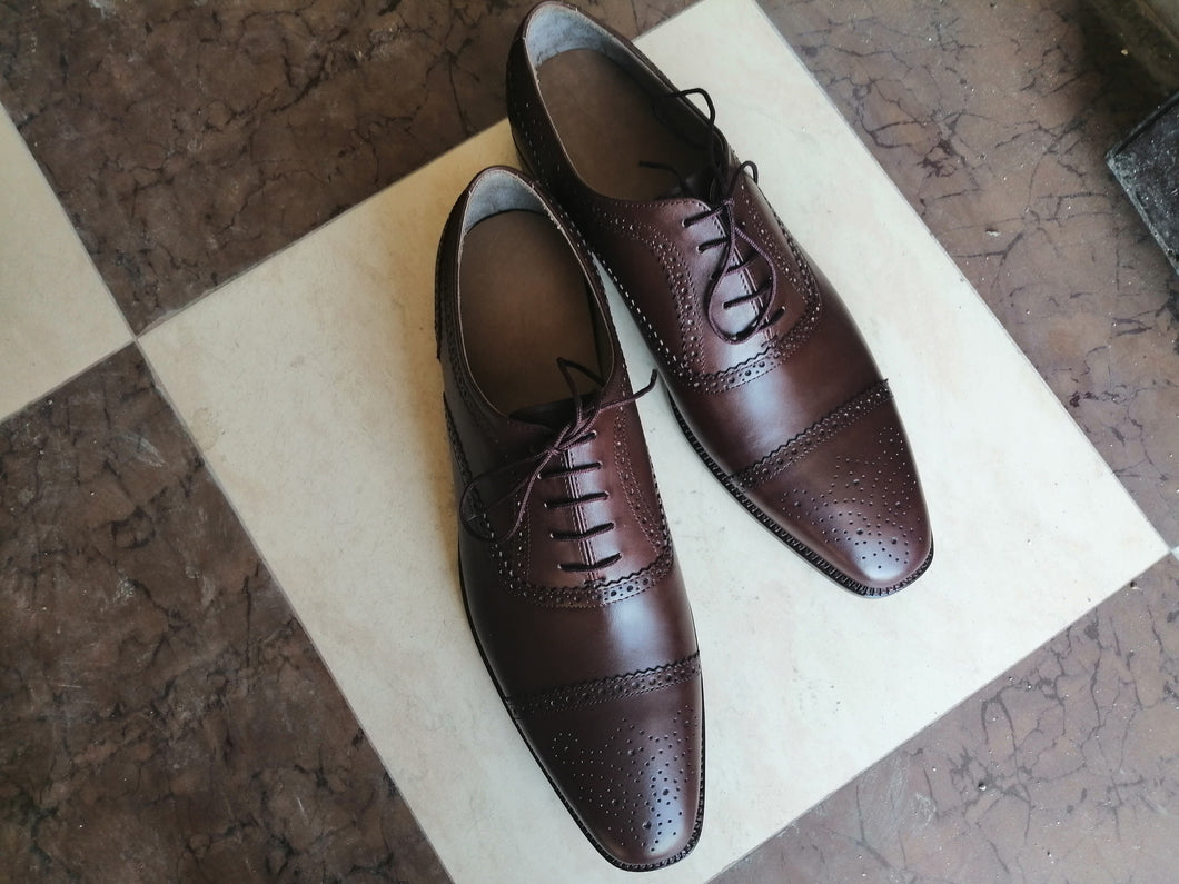Stylish Men's Handmade Burgundy Leather Cap Toe Brogue Lace Up Dress Formal Shoes - theleathersouq