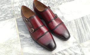 Elegant Men's Handmade Burgundy Leather Cap Toe Double Monk Strap Dress Shoes - theleathersouq