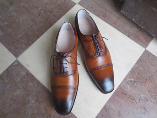 Classic Men's Handmade Two Tone Brown Burnished Toe Lace Up Dress Shoes - theleathersouq