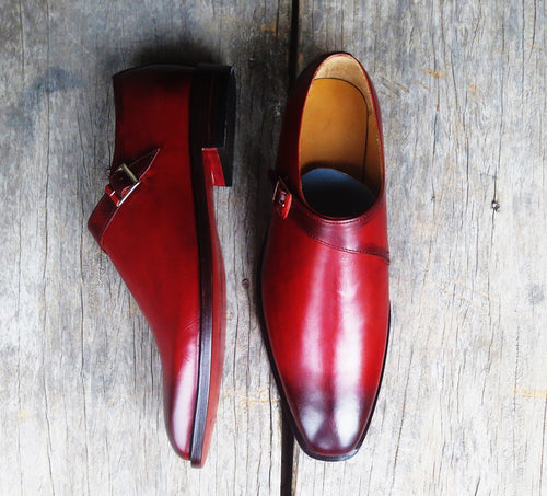 Classic Men's Handmade Burgundy Leather Monk Strap Burnished Toe Dress Shoes - theleathersouq