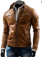 Load image into Gallery viewer, Stylish Handmade Men Brown Leather Fashionable Biker Jacket,New Motorbike Jacket - theleathersouq