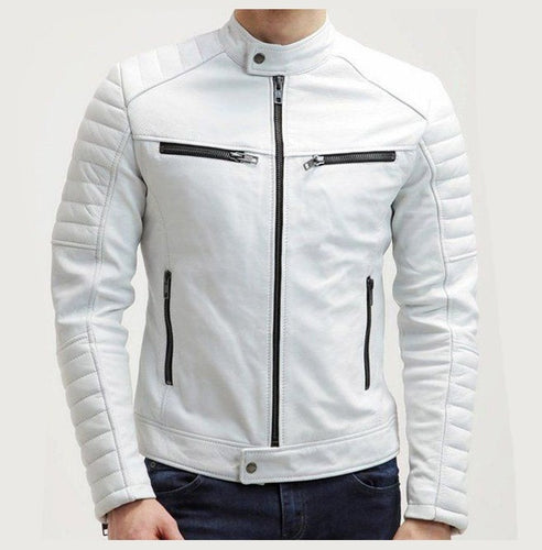 Men White Color Slim Fit Leather Jacket, Men's Fashion Jacket - theleathersouq