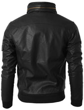 Load image into Gallery viewer, Men's Black Slim Fit Leather Jacket, Men Leather Jackets, Fashion Leather Jacket - theleathersouq