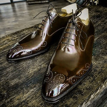 Load image into Gallery viewer, Stylish Handmade Men American Luxury Brogue Toe Dark Brown Leather Shoes, leather shoes - theleathersouq