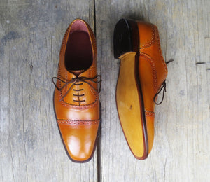 Elegant Design Handmade Men's Leather Tan Color Oxford Dress Lace Up Shoes - theleathersouq