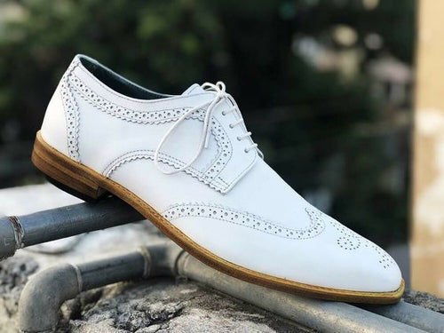 Beautiful Handmade Men's White Leather Wing Tip Brogue Lace Up Dress Shoes - theleathersouq