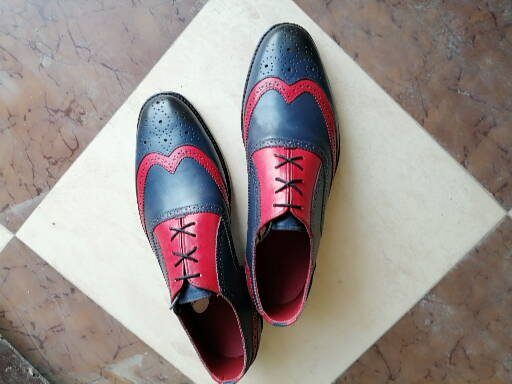 Handmade Men's Pink & Navy Color Leather Wing Tip Brogue Lace Up Dress Shoes - theleathersouq