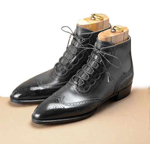Elegant Handmade Men's Ankle High Leather Wing Tip Brogue Boots, Men's Black Color Lace Up Boots - theleathersouq
