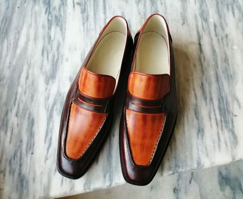 Elegant Handmade Men's Tan & Brown Leather Stylish Penny Loafer Dress Shoes - theleathersouq