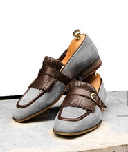Load image into Gallery viewer, Handmade Men's Suede Monk Strap Casual Shoes, Men's Gray & Brown Color Slip On Fringe Shoes - theleathersouq