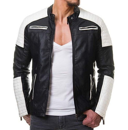 Stylish Men's Black and White Slim Fit Biker Jacket, Men Leather Jacket - theleathersouq