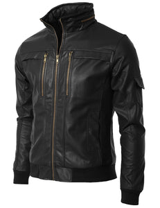 Men's Black Slim Fit Leather Jacket, Men Leather Jackets, Fashion Leather Jacket - theleathersouq