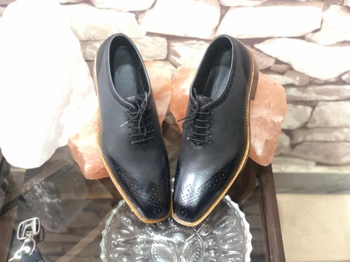 Beautiful Men's Handmade Gray & Black Leather Brogue Toe Lace Up Dress Shoes - theleathersouq