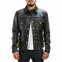 Load image into Gallery viewer, New Men's Genuine Lambskin Leather Biker Jacket, Black Leather button shirt Jacket - theleathersouq