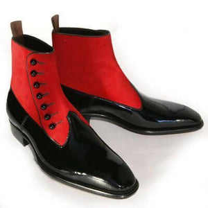 Stylish Men Handmade Black & Red Leather & Suede Boots, men ankle shoes - theleathersouq