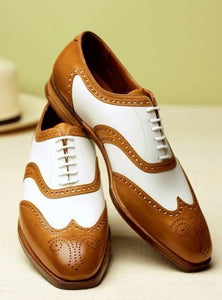 New Stylish Handmade Men's Oxford Wing Tip Brogue Tan & White Leather Shoes - theleathersouq