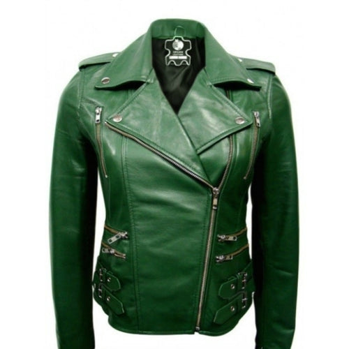 Stylish Women's BRANDO CLASSIC Green Leather Jacket, Ladies' Leather Jacket - theleathersouq
